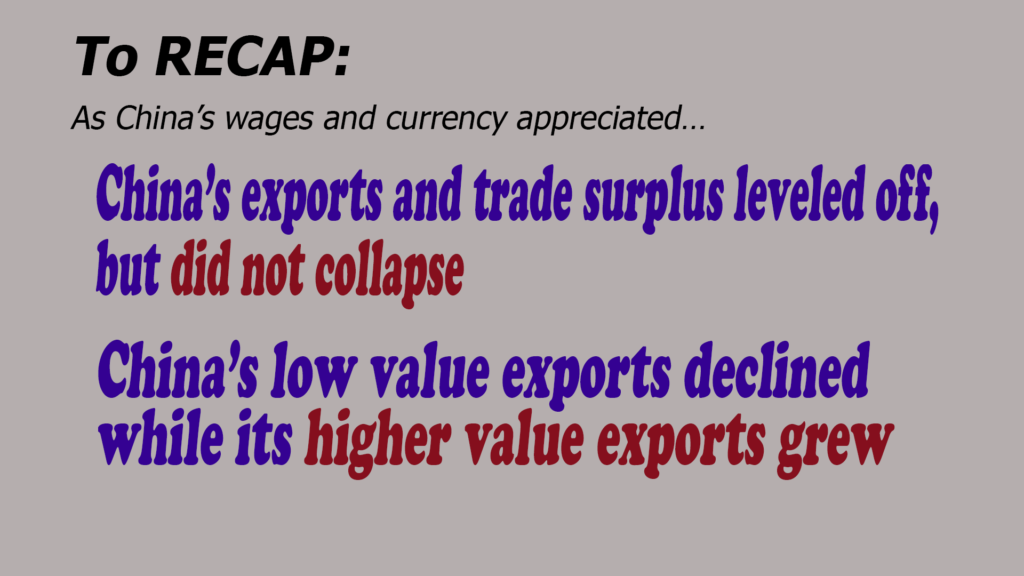 If we consider the major trends relative to China's exports, imports, GDP, wages, currency, etc.