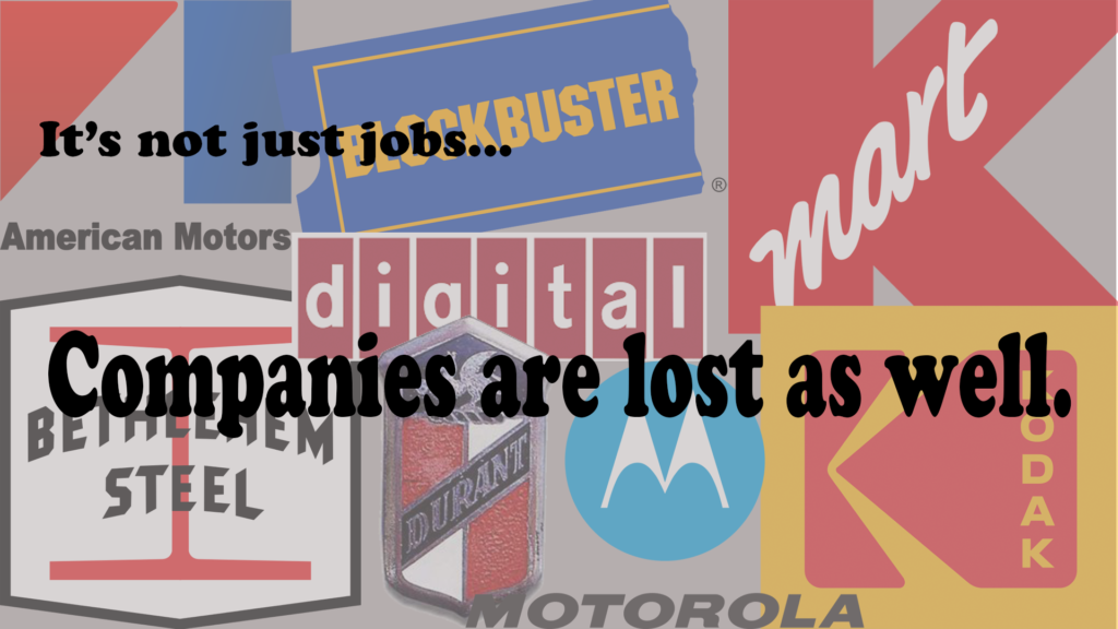 It isn't just jobs that are lost.  70% of companies fail in the first 5 years, and industry titans are swept aside as an economy evolves.